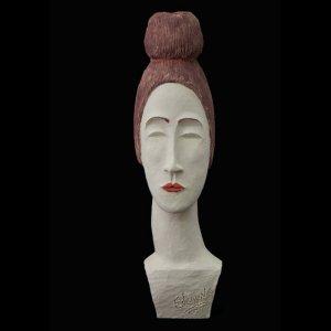 Fen Mugüerza - escultora ceramista - Taller de arte en Ourense - PIEZA ÚNICA de Terracota, es un regalo exclusivo, un regalo original, regalo para boda. Cerámica contemporánea realizada en pasta gres cocida a 1.000 ºC y con los detalles pintados con barbotinas